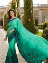 image of Prachi Desai Fancy Fabric Puja Wear Printed Saree In Light Teal