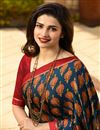 photo of Prachi Desai Teal Fancy Fabric Occasion Wear Printed Saree