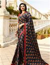 image of Prachi Desai Teal Fancy Fabric Occasion Wear Printed Saree