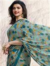 photo of Prachi Desai Fancy Fabric Dark Teal Designer Printed Saree With Blouse