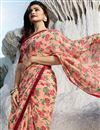 photo of Prachi Desai Salmon Printed Sangeet Wear Fancy Fabric Saree With Blouse