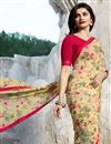 photo of Prachi Desai Cream Designer Saree With Printed Design On Fancy Fabric