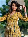 photo of Festive Wear Yellow Digital Print Gown In Fancy Fabric