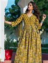 image of Festive Wear Yellow Digital Print Gown In Fancy Fabric