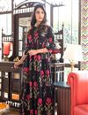 image of Festive Wear Printed Readymade Designer Gown In Fancy Fabric Black Color