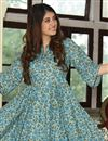photo of Festive Wear Sky Blue Digital Printed Fancy Fabric Kurti With Palazzo