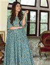 image of Festive Wear Sky Blue Digital Printed Fancy Fabric Kurti With Palazzo