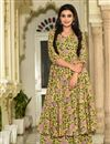 image of Fancy Fabric Digital Printed Yellow Festive Wear Kurti With Palazzo