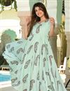 photo of Sea Green Fancy Fabric Digital Printed Festive Wear Kurti With Palazzo