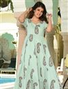 image of Sea Green Fancy Fabric Digital Printed Festive Wear Kurti With Palazzo
