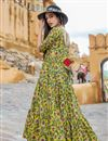 photo of Fancy Fabric Designer Yellow Color Readymade Party Wear Gown