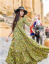 image of Fancy Fabric Designer Yellow Color Readymade Party Wear Gown