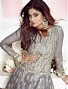 photo of Shamita Shetty Designer Net Embroidered Grey Function Wear Floor Length Anarkali Suit