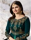 photo of Prachi Desai Teal Embellished Floor Length Anarkali Dress In Art Silk