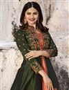 photo of Prachi Desai Designer Long Party Wear Green Anarkali Suit In Art Silk
