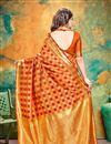 photo of Orange Color Banarasi Silk Fabric Party Wear Designer Saree