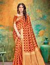 image of Orange Color Banarasi Silk Fabric Party Wear Designer Saree