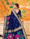 photo of Blue Party Wear Saree In Art Silk With Weaving Work And Beautiful Blouse