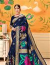 image of Blue Party Wear Saree In Art Silk With Weaving Work And Beautiful Blouse