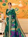 image of Party Wear Art Silk Fancy Weaving Work Saree In Teal