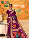 image of Weaving Work On Art Silk Magenta Function Wear Saree With Marvelous Blouse