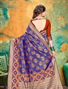 photo of Banarasi Silk Fabric Designer Weaving Work Saree In Blue Color With Attractive Blouse