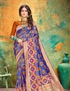 image of Banarasi Silk Fabric Designer Weaving Work Saree In Blue Color With Attractive Blouse