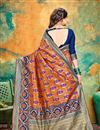 photo of Orange Party Wear Fancy Saree In Banarasi Silk With Weaving Work