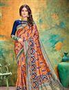 image of Orange Party Wear Fancy Saree In Banarasi Silk With Weaving Work
