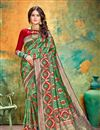 image of Banarasi Silk Fabric Dark Green Color Festive Wear Saree With Weaving Work And Attractive Blouse