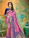 image of Banarasi Silk Fabric Designer Weaving Work Saree In Rani Color With Attractive Blouse