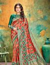 image of Weaving Work On Banarasi Silk Fabric Red Color Function Wear Saree With Marvelous Blouse