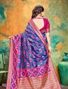 photo of Banarasi Silk Fabric Blue Color Festive Wear Saree With Weaving Work And Attractive Blouse