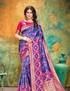 image of Banarasi Silk Fabric Blue Color Festive Wear Saree With Weaving Work And Attractive Blouse