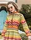 photo of Multi Color Art Silk Fabric Function Wear Readymade Printed Anarkali Salwar Kameez