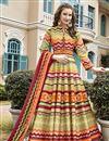 image of Multi Color Art Silk Fabric Function Wear Readymade Printed Anarkali Salwar Kameez