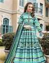 image of Cyan Color Art Silk Fabric Function Wear Printed Readymade Anarkali Suit