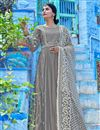 image of Party Wear Fancy Fabric Embroidered Readymade Anarkali Suit With Leggings In Grey