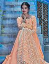 photo of Fancy Fabric Party Wear Embroidered Peach Readymade Anarkali Dress With Leggings
