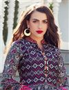 photo of Art Silk Fabric Digital Print Navy Blue Color Occasion Wear Readymade Anarkali Suit