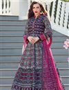 image of Art Silk Fabric Digital Print Navy Blue Color Occasion Wear Readymade Anarkali Suit