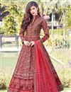 image of Digital Print Designs On Red Color Party Wear Readymade Anarkali Suit In Art Silk Fabric