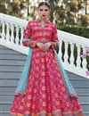 image of Festive Wear Digital Print Readymade Anarkali Salwar Suit In Art Silk Fabric Dark Pink Color