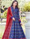 image of Digital Print Designs On Blue Color Party Wear Readymade Anarkali Suit In Art Silk Fabric