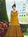 image of Golden Color Banglori Silk Fabric Function Wear Embroidered Readymade Anarkali Suit