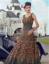 image of Banglori Silk Fabric Party Wear Embroidery Work Readymade Anarkali Suit In Navy Blue Color
