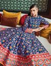 photo of Eid Special Party Wear Blue Readymade Patola Style Printed Anarkali Suit In Art Silk