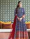 image of Eid Special Party Wear Blue Readymade Patola Style Printed Anarkali Suit In Art Silk