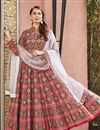 image of Eid Special Designer Party Wear Art Silk Patola Style Printed Readymade Anarkali Suit In Red