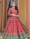 image of Party Wear Designer Red Patola Style Printed Art Silk Readymade Anarkali Dress